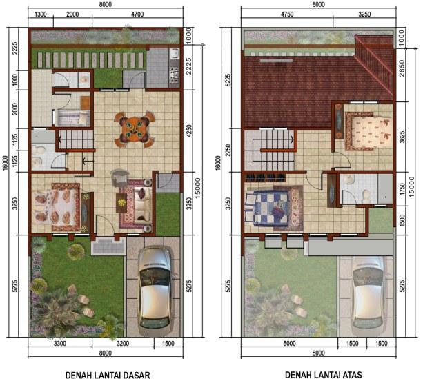Denah Rumah 2 Lantai Dengan Luas Terbatas